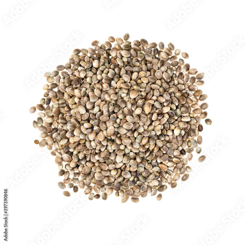 Pile of hemp seeds seen directly from above and isolated on white background Fototapeta