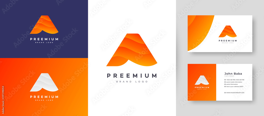 Fototapeta Modern Color Gradient Letter A Logo With Premium Business Card Design Vector Template for Your Company Business