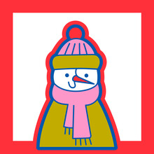 Illustration Of Snowman With Hat And Scarf