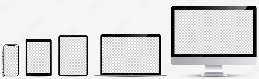 Fototapeta Device screen mockup. Realistic set: Smartphone, tablet, laptop and monoblock monitor. Devices silver color with blank screen for you design. Realistic vector illustration EPS10