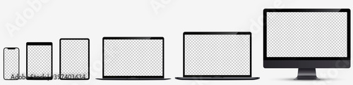 Obraz Device screen mockup. Realistic set: Smartphone, tablet, laptop and monoblock monitor. Devices black color with blank screen for you design. Realistic vector illustration EPS10 - fototapety do salonu