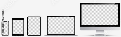 Fototapeta Device screen mockup. Realistic set: Smartphone, tablet, laptop and monoblock monitor. Devices silver color with blank screen for you design. Realistic vector illustration EPS10 obraz