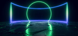 Fototapeta Do przedpokoju - Cyber Futuristic Neon Glowing Garage Hangar Rectangle Frame Blue Green Lights Fluorescent Schematic Texture Sci Fi Spaceship Background 3D Rendering