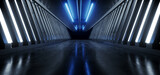 Fototapeta Do przedpokoju - Realistic Dark Hallway Columns Parking Concrete Cement Stone Pillars Corridor Hall Tunnel Underground Sci Fi Futuristic  Neon Circle Blue Led Lights Spaceship 3D Rendering