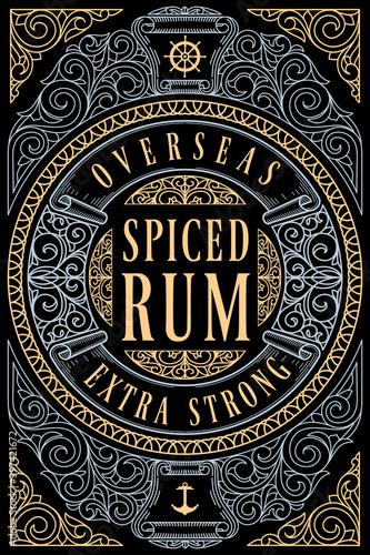 Cuadros en Lienzo Spiced Rum - ornate vintage decorative label