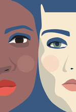 LGBT Community Two Women Standing Together Face Closeup