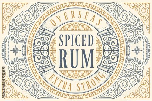 Fotomural Spiced Rum - ornate vintage decorative label