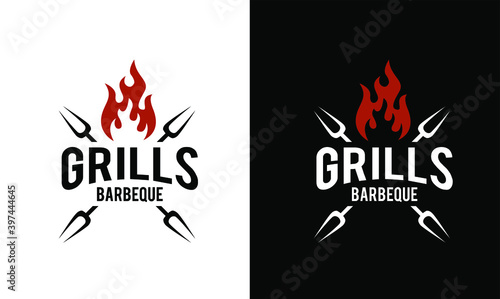 Canvas-taulu Barbecue logo design