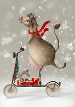 A Cheerful Cow On A Scooter Carries Various Gifts For The New Year 2021.