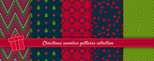 Christmas Seamless Patterns Collection. Vector Set Of Winter Holiday Background Swatches. Cute Colorful Abstract Textures With Snowflakes, Christmas Trees, Gifts, Nordic Ornaments. Red, Green, Black