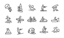 Water Recreation Icons Vector Design
