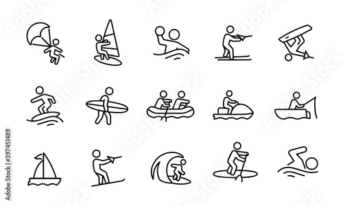 Stampa su Tela Water Recreation icons vector design