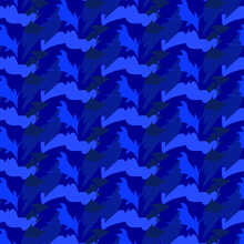 Blue Seamless Pattern Vector For Printing Camouflag Seamless