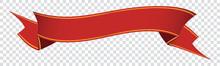 Red Vintage Ribbon Banner Label On Transparent Background