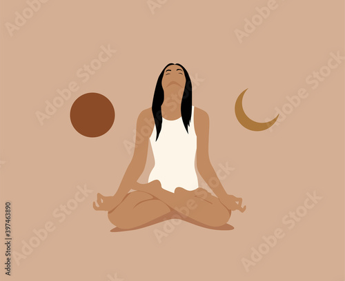 Fotografie, Obraz Girl or woman meditate in lotus asana or position with sun and moon on both sides