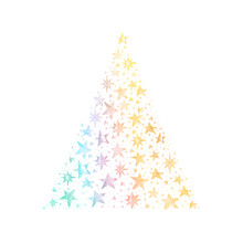Watercolor Paint Pine Stars Christmas Ornaments Card With Rainbow Colorful Colors, Handmade Painting Bush