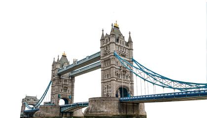 Tower Bridge (London, UK) isolated on white background