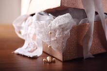 Gift Glitter Box With Lace White Underwear