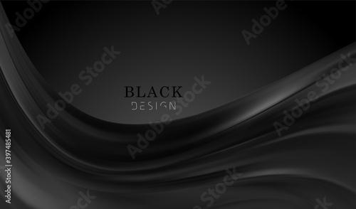 Canvas Print Smooth elegant black satin texture abstract background