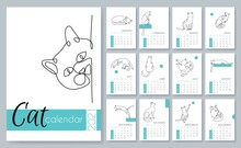 Calendar 2021. Monthly Calendar 2021 Template With A One Line Cat. One Line Cats Calendar For Every Month. Silhouette Of Cat In Motion And Without. Printable Creative Template. Vector. Isolated.