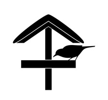 Snowy Bird Table And Bird Silhouette Isolated On White Background