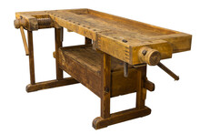 Vintage Antique Planer Bench Isolated On A White Background