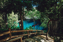 Stairway To The Blue Fresh Water Lagoon, Dominican Republic