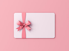 Blank White Gift Card Or Gift Voucher With Pink Ribbon Bow Isolated On Pink Pastel Color Background With Shadow Minimal Concept 3D Rendering
