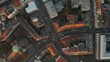 Generic City Overhead View from Birds Eye View, European City Top View in Germany, Aerial Drone perspective