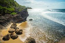 Idyllic Scene Shot From A Rocky Outcrop Along The Coast In Aguadilla, Puerto Rico