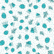 Seamless Pattern With Shell, Coral, Bubble On White Background. Vector Illustration
