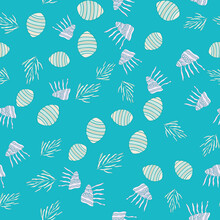 Seamless Pattern With Different Uderwater Elements. Vector Illustration