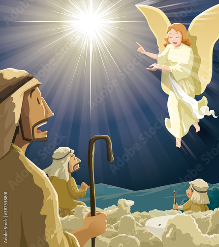 Canvas Print Angel announced to the shepherds the birth of Jesus