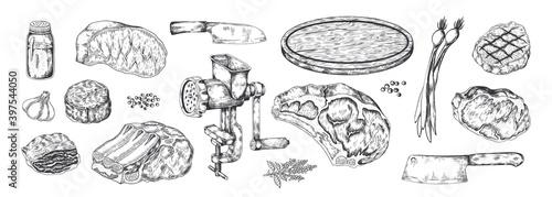 Obraz na plátne Butchery products sketch