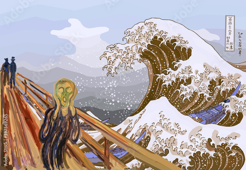Canvas Print The Scream for The Great Wave Off Kanagawa