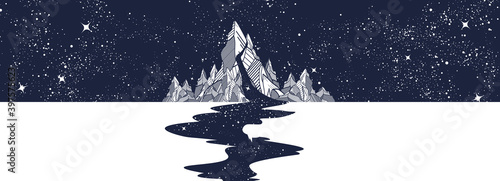 River of stars, mountain and night sky. Black and white surreal graphic. Infinite space, meditation art, travel and tourism style. Endless universe concept