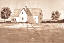 White Cottage With A Field. Farmhouse. Countryside. Monochrome Hand Painted Watercolor Illustration In Sepia.