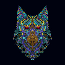 Stylized Wolf In Ethnic Vector Black Background