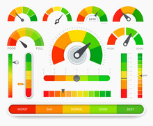 Credit Score Indicators. Good And Bad Meter. Credit Rating History Report. Limit Indicators With Color Levels From Poor To Good. Vector Illustration.