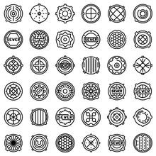 Manhole Icons Set. Outline Set Of Manhole Vector Icons For Web Design Isolated On White Background