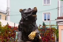 Yaroslavl, Russia - August 14, 2020: The Symbol Of Russia, The Legend Of Yaroslavl Is A Monument To The Bear. Yaroslavl