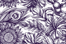 Artistic Seamless Pattern With Banana Palm Leaves, Hibiscus, Solanum, Bromeliad, Peacock Feathers, Protea