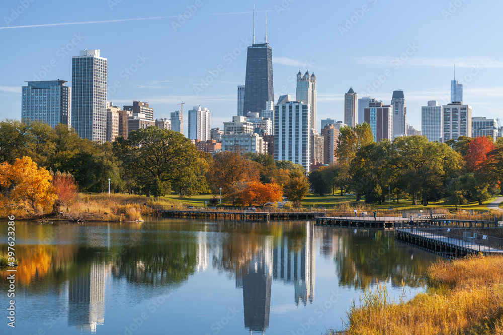 Chicago, Illinois, USA Park and Skyline