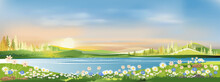 Spring Landscape Morning In Village With Green Meadow On Hills,orang And Blue Sky, Vector Cartoon Summer Or Spring Panorama View By The Lake,Countryside With River,green Field,wild Flowers And Sunset