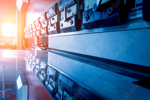 Leinwand Poster Modren hydraulic bending machine at metal manufactory