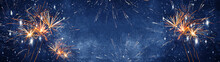 Silvester Background Banner Panorama Long- Firework On Rustic Dark Blue Night Sky Texture