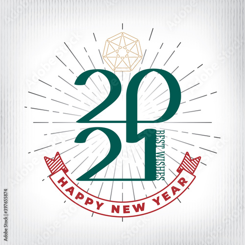 2021 Emblem Style Single Line Calligraphic Numerals Logo and Happy New Year with Fototapeta