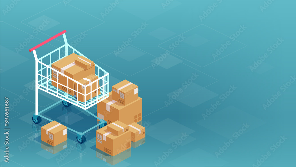 Fotografia Vector of cardboard boxes and shopping cart