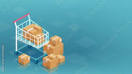 Obraz na płótnie Vector of cardboard boxes and shopping cart