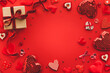 canvas print picture - Valentine's day or Wedding romantic concept with Red hearts on red background. Top view, copy space.